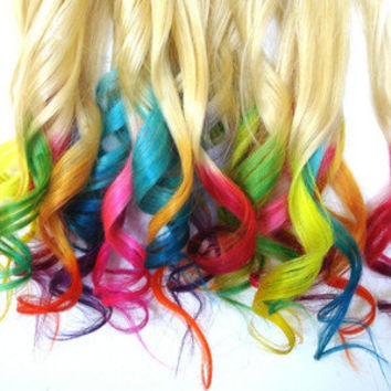 RAINBOW DIPPED BLONDE Human Hair Extensions | 100% Remy Hair, Tie Dye Hair, Rainbow Extensions, Dip Dye Hair Extensions, Ombre Hair