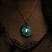 Moon Glowing Turquoise Charm Jewelry Silver Plated Necklace Pendant Halloween Gifts My Urban Beauty