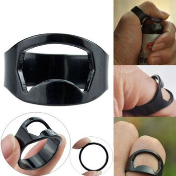 2017 High Quality Easy Stainless Steel Carry Finger Ring Beer Bar Bottle Opener Tool Black Free Shipping