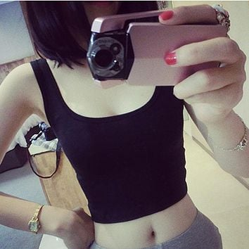 2017 Hot Summer Sleeveless Sexy Croptops Tank Tops Women Solid Tight Crop Tops Skinny U-Neck Workout Short Vest White Black Gray