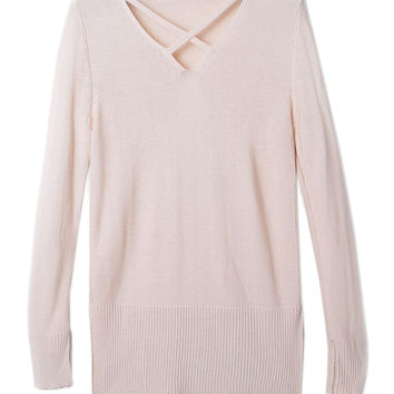 Beige V Neck Side Split Long Sleeve Sweater