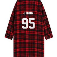 BTS Monster JIN Suga Jimin V Same Shirt Long Sleeve Blouse (One Size, Suga)