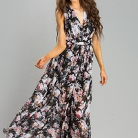 Ariana Black Floral Maxi Dress