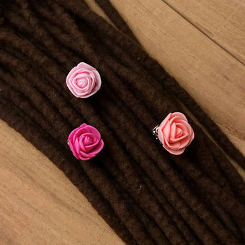 Pink flower hair jewelry, rose beads,boho jewelry, hippie dreads, peach,hippie weddings, gifts for boho girls