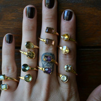 LUX DIVINE /// Semi Adjustable Wrap Ring /// Stackable Gemstone Gold Electroformed Ring