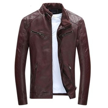 Men Casual Leather Jacket Zippers High Quality Windproof Male Leather Coat Motorcycle Rider Businessmen Style
