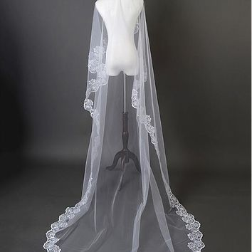 [14.39] In Stock Beautiful White Tulle Cathedral Wedding Veil With Lace Applique Edge #blackfriday - dressilyme.com