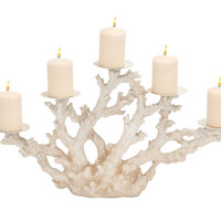 Striking Styled Polystone Metal Coral Candle Holder
