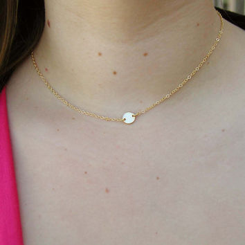 small necklace simple minimalist new tiny etsy push solid initial mom delicate gold on jewelry shop present dainty stellasalvador savings