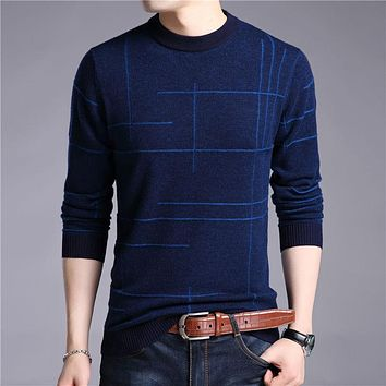 Mens Knitted Sweaters Autumn Winter Thick Warm Merino Wool Pullover Men Casual O-Neck Pull Homme Jumper Sweater Men