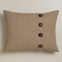 Natural Ribbed Lumbar Pillow with Buttons - World Market