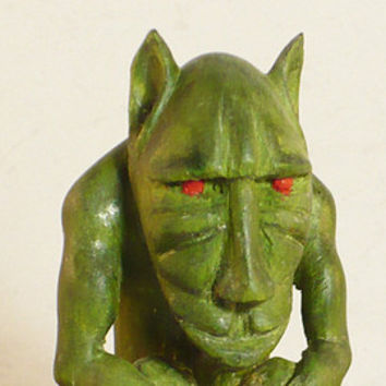 Happy gargoyle grotesque mythic fantasy art sculpture wood carving