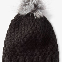 Black Faux Fur Pom Thick Knit Beanie from EXPRESS