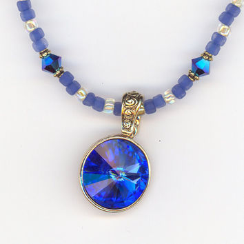 Blue Sapphire Crystal Pendant Round  with Crystals and by Lehane