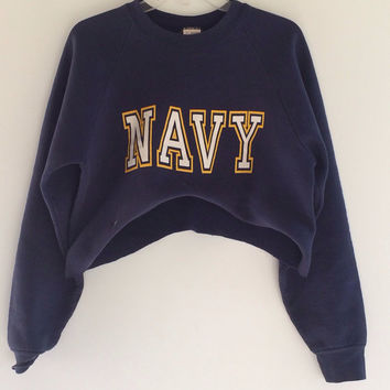 Vintage oversized US Navy cutoff crewneck sweatshirt