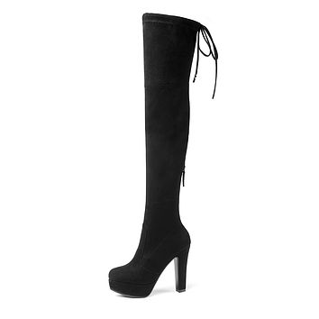 Faux Suede Tall Boots Platform Stiletto Heel?Winter Shoes for Woman 4817