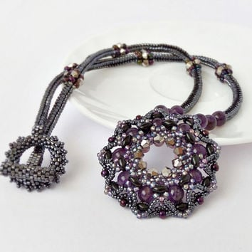 Natural Amethyst Beadwork Necklace, Purple Black Beaded Pendant, Healing Stone February Birthstone, Bridesmaid Jewelry