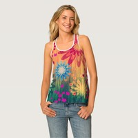 Grunge Red Blue Yellow Daisies Women Tank Top