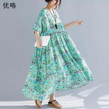 New Arrival Women Summer Dress Vintage Sundress Cotton Art Print Big Swing Maxi Dress 4XL 5XL 6XL Plus Size New Long Dress