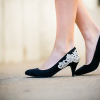 Black Pumps - Black Pumps/ Low Black Heels with Ivory Lace. US Size 7