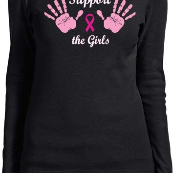 Ladies Breast Cancer Long Sleeve Shirt Support the Girls