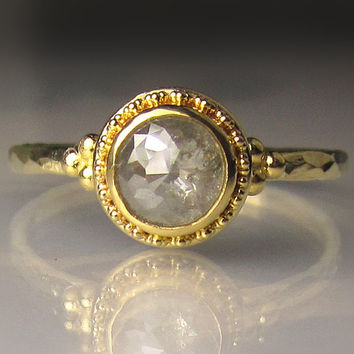 22k Gold Granulated Rose Cut Diamond Engagement Ring
