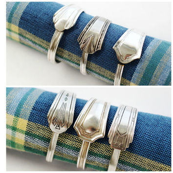 Spoon Napkin Rings, Art Deco, Rustic Table Decor, Elegant Silver Napkin Rings, Recycled Silverware, Mixed Patterns, set of 6 by Hendywood