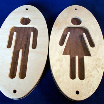 Birch/Walnut Decor sign for Men and Woman Restroom