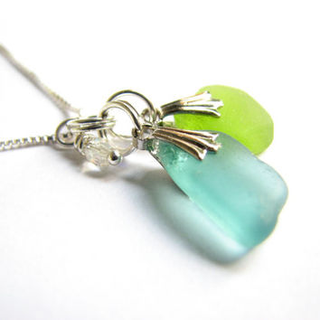 Aqua and Lime Green Beach Glass Necklace Genuine Sea Glass from Hawaii Seaglass Jewelry Mothers Day Gift