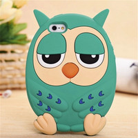 Cute owl Cell Phone Case for iPhone 5/5s iPhone 6 4.7 inch/6 plus 5.5 inch Cartoon Silicon Protection Phone Shell