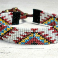 Tribal Seed Bead Bracelet - Bead Loom Bracelet - Native American Womens Bracelet - Adjustable Bracelet