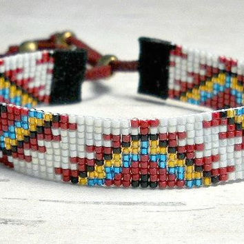 Tribal Seed Bead Bracelet Loom Native American Womens Adjule