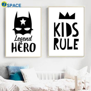 Batman Dark Knight gift Christmas Cartoon Batman Crown Canvas Painting Wall Art Canvas Posters And Prints Nordic Poster Black White Wall Pictures Kids Room Decor AT_71_6