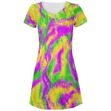 DCCKIS3 Mardi Gras Bourbon Street Monster Costume All Over Juniors Beach Cover-Up Dress