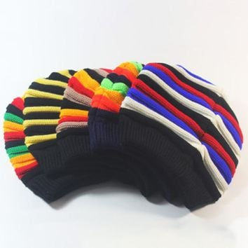 5 colors autumn and winter Jamaica Reggae cap red yellow green black striped wool hat long section rainbow knit cap gift