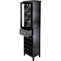 Burgundy 15 Bottle Wine Cabinet Glass Door Black
