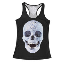 Clothing new women t-shirt black vest tops 3D print ribs skull bone camisole knitted polyester Sexy Tank top 2016 Fashion