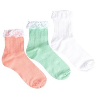 ASOS 3 Pack Lace Trim Ankle Socks
