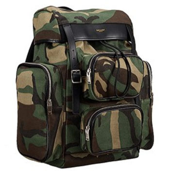Saint Laurent Delave Multi-Pocket Camouflage Backpack 18926721