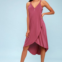 Mood and Melody Washed Magenta High-Low Dress