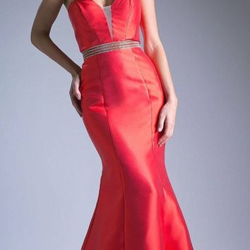 Strapless Mermaid Long Prom Dress Cut-Out Back Red