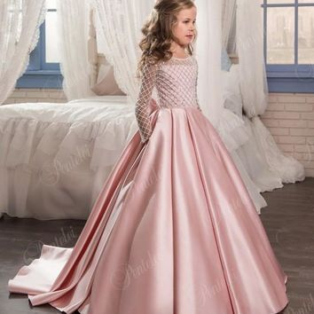 Stunning Pink Flower Girl Dresses for Weddings 2017 Kids Long Sleeve Communion Dress Beads Ball gown Girls Pageant Dresses FH117