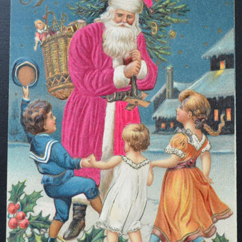 Santa Postcard, Santa Claus Postcard, Christmas Postcard, Antique Postcard, Santa Silk Card, Silk Applied Novelty, Christmas Ephemera