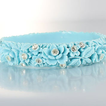 Celluloid Rhinestone Bracelet, Vintage Blue Floral Bangle Japan jewelry 8 inch