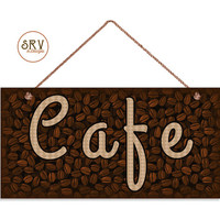 """Cafe Sign, Coffee Bean Background, Weatherproof, 5""""x10"""" Wall Plaque, Cafe Decor, Home Decor, Coffee Bar Sign, Made To Order"""