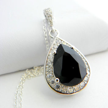 Black Swarovski Necklace, Teardrop Necklace, Clear Cubic Zirconia Jewelry, Black and White Wedding, Wedding Necklace, Bridesmaid Necklace