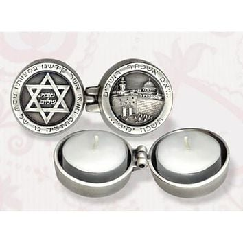 Decorative Travel Pewter Candlesticks
