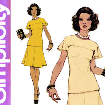 1970s Two Piece Dress Pattern Bust 32 38 Simplicity 6081 Jiffy Kimono Sleeve Flutter Sleeve Top Flared Skirt Womens Vintage Sewing Patterens