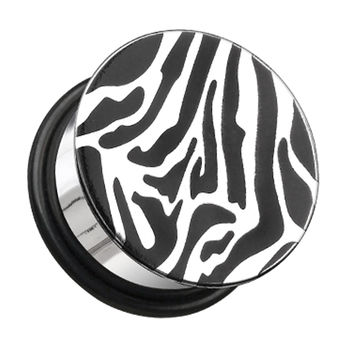 Zebra Plate Hollow Back Single Flared Ear Gauge Plug