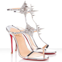 Christian Lady Max 100mm Leather Strass Sandals Silver